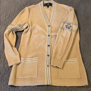 St John Gold Button Front Sweater Small